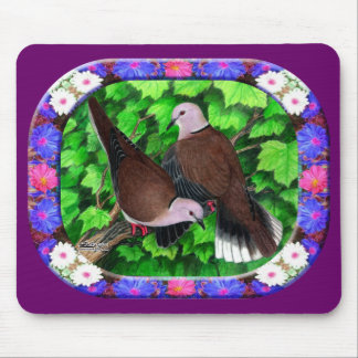 Doves and Flowers Framed Mouse Pad