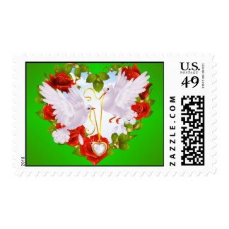 Doves and Flowers Wedding Stamp