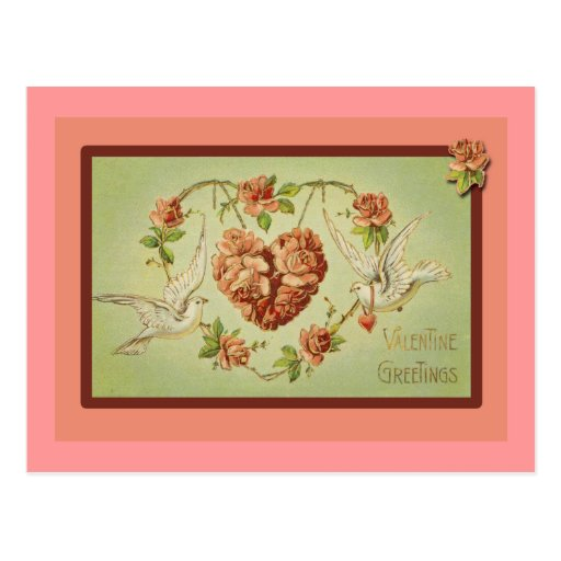 Doves and Hearts Valentine Cards Postcard