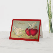 Doves And Hearts Vintage Valentine Card