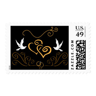 Doves and Hearts Wedding Postage