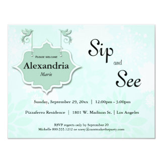 Doves And Mint Green Sip And See Baby Invite