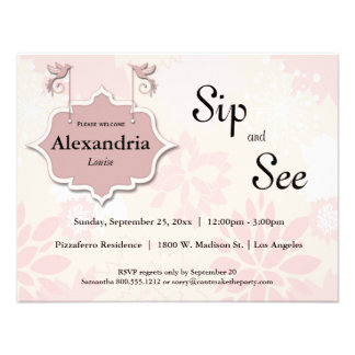 Doves And Pink Floral Sip And See Baby Invite