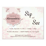 """Doves And Pink Floral Sip And See Baby Invite 4.25"""" X 5.5"""" Invitation Card"""