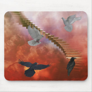 Doves and Ravens Mouse Pad