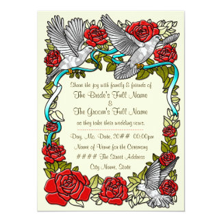 Doves and Roses in Cream (Wedding Invitation) 5.5x7.5 Paper Invitation Card