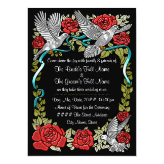 Doves and Roses (Wedding Invitation) 5.5x7.5 Paper Invitation Card