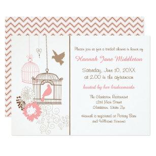 Wedding dove bridal shower invitations announcements zazzle doves cages 3x5 bridal shower invitation stopboris Image collections