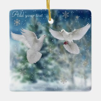 Doves christmas ornament