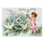 Doves, Cupid, Key and Heart Vintage Valentine Poster