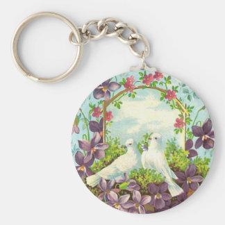 Doves & Flowers Basic Round Button Keychain