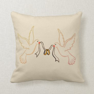 Wedding Themed Doves Golden Rings Wedding Throw Pillow