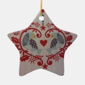 Doves & Hearts -- Pennsylvania Dutch Double-Sided Star Ceramic Christmas Ornament