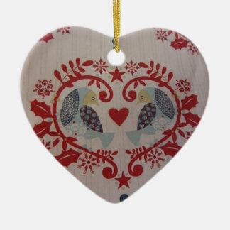 Doves & Hearts -- Pennsylvania Dutch Double-Sided Heart Ceramic Christmas Ornament