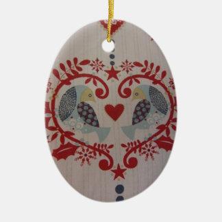 Doves & Hearts -- Pennsylvania Dutch Double-Sided Oval Ceramic Christmas Ornament