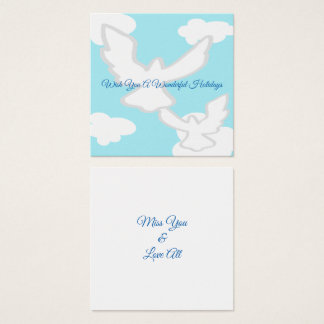 Doves Holiday Wishes Square Business Card