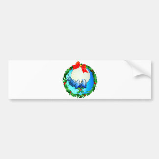 DOVES & HOLLY WREATH by SHARON SHARPE Car Bumper Sticker