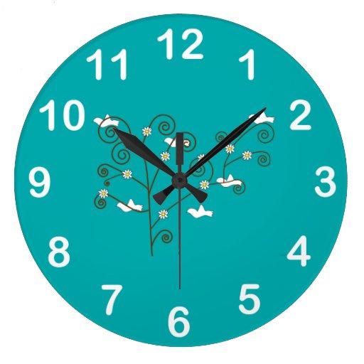 Doves in a Tree Wall Clock