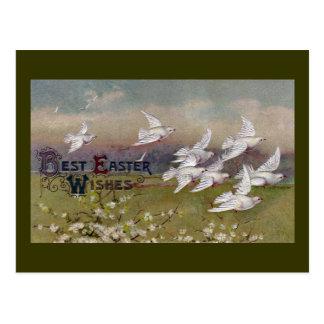 Doves in Flight Vintage Easter Postcard