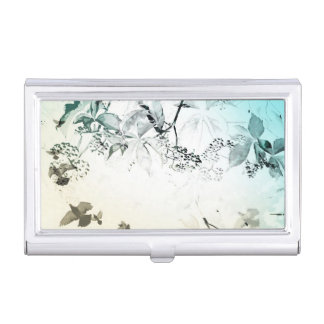Doves in flight with delicate vines business card holder