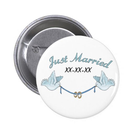 Doves Just Married 2 Inch Round Button