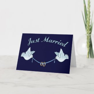 Doves Just Married Cards