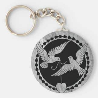 Doves on Brushed Metal Keychain
