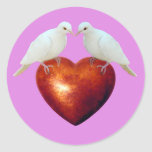 Doves on Red Heart Stickers