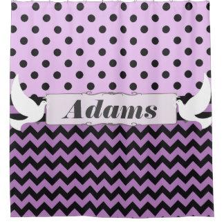 Doves Purple Black Polka Dot Chevron Ribbon Custom Shower Curtains