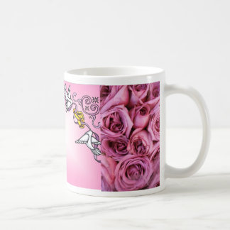 Doves & Rings with Pink Roses (1) Favor Mug