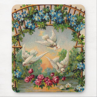 Doves Roses Birthday Mouse Pad