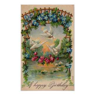 Doves Roses Birthday Poster