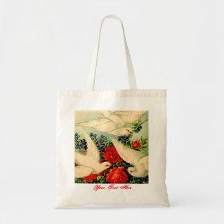 Doves Roses Birthday Wedding Custom Gift Bag Tote