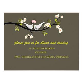"Doves wedding reception cards 4.25"" x 5.5"" invitation card"