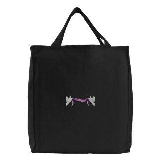 Doves with banner embroidered tote bag