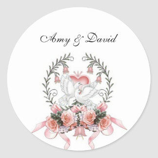 Doves with Beautiful Flowers Stickers