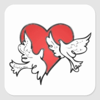 Doves with Red Heart Wedding Envelope Seal Sticker