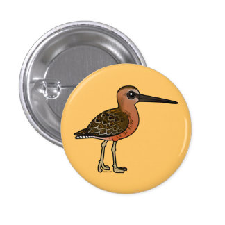 Dowitcher longirrostro de Birdorable Pin Redondo De 1 Pulgada