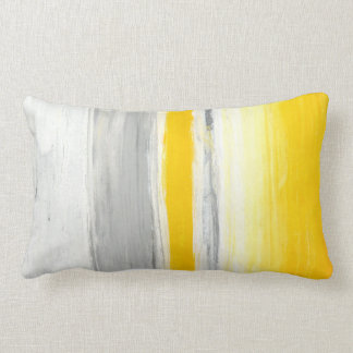 'Down Below' Grey and Yellow Abstract Art Pillow