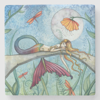Down by the Pond Colorful Mermaid Art Stone Coaster