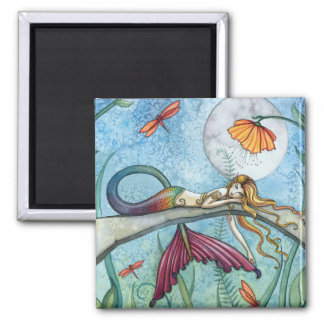Down by the Pond Mermaid Art 2 Inch Square Magnet