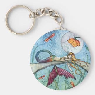 Down by the Pond Mermaid Art Basic Round Button Keychain