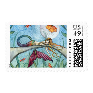 Down by the Pond Mermaid Art Postage