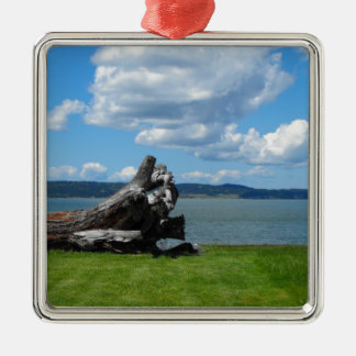 Down By The Sea Square Metal Christmas Ornament