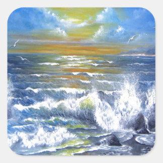 Down Came the Sun Seascpe Square Sticker