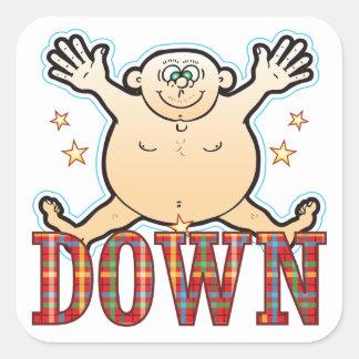 Down Fat Man Square Sticker