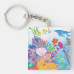 Down In The Ocean Square Acrylic Keychains