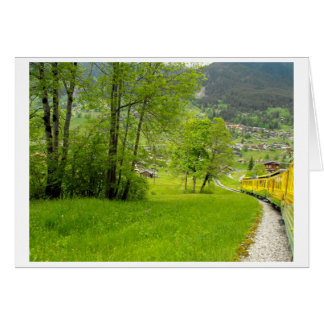 Down into the Swiss valley by train Card