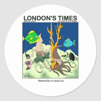 Down On Squid Roe Funny Gifts Tees & Collectibles Classic Round Sticker