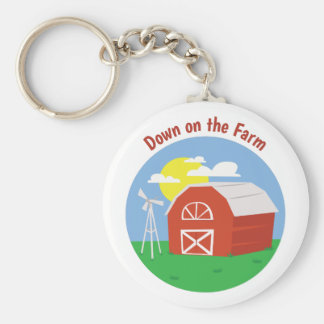 Down on the Farm Basic Round Button Keychain